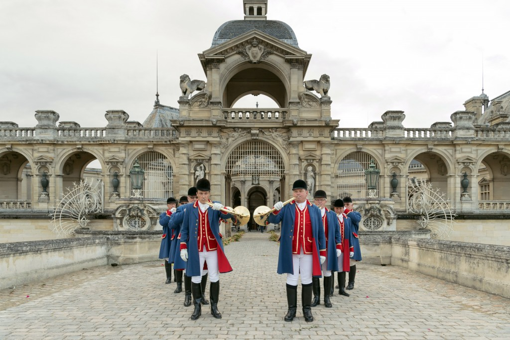 French traditional hunting horns announce guests' arrival