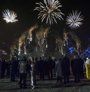 Guests admire fireworks show over Le Nôtre's gardens