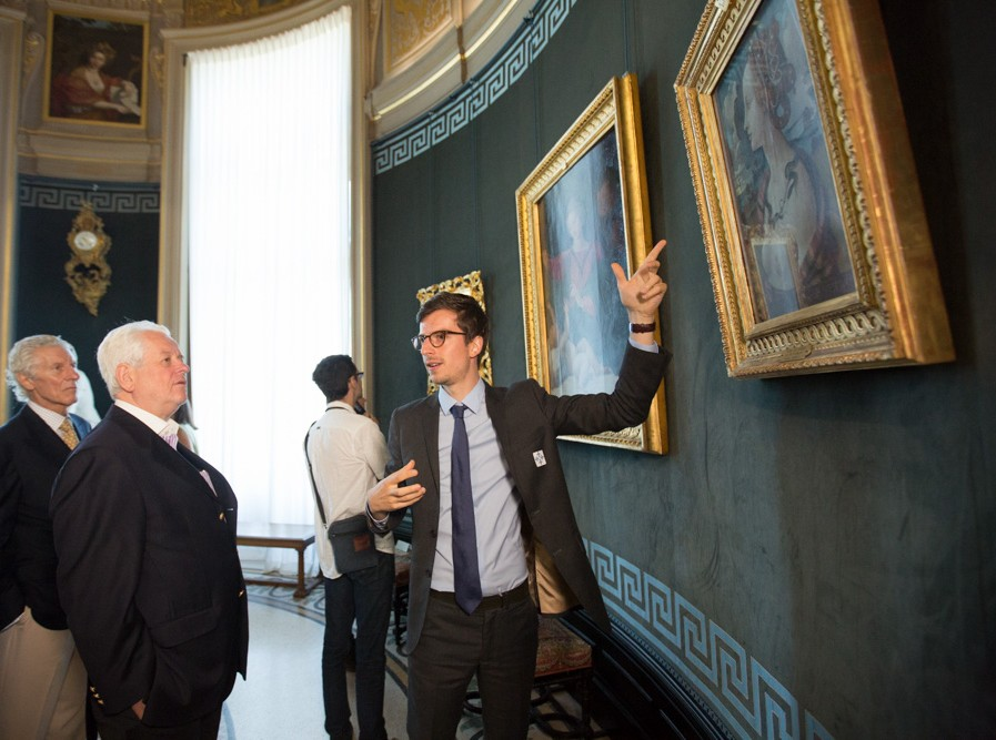 "Curator Mathieu Deldicque discusses the famous ""Portrait of Simonetta Vespucci"" by Piero di Cosimo in the Rotunda with Joshua Berman and Wolfgang Schwarzhaupt"