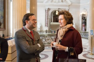 Curator Laurent Ferri chats with FODC Board Member Nathalie Brunel.