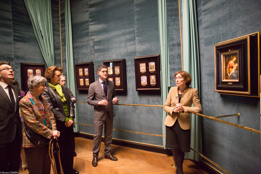 Chief Curator Nicole Garnier in the Sanctuary with Mario Tavella, Marquise de Lastic, Nathalie Brunel, Rachel McGarry, and Pierre Mothes