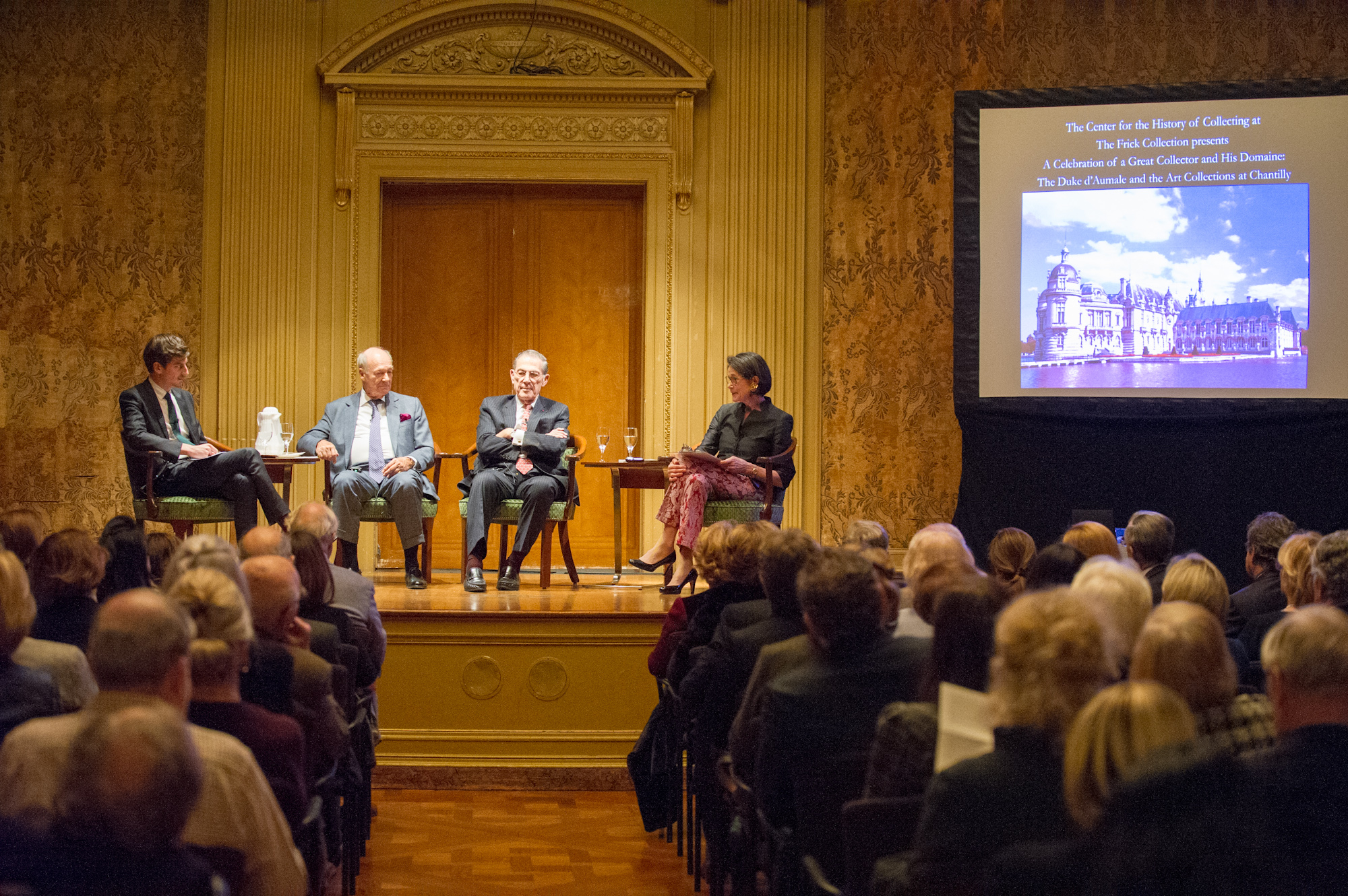 Mathieu Deldicque, Prince Amyn Aga Khan, and Philippe de Montebello discuss the Duke d'Aumale and his art collection while Inge Reist moderates.