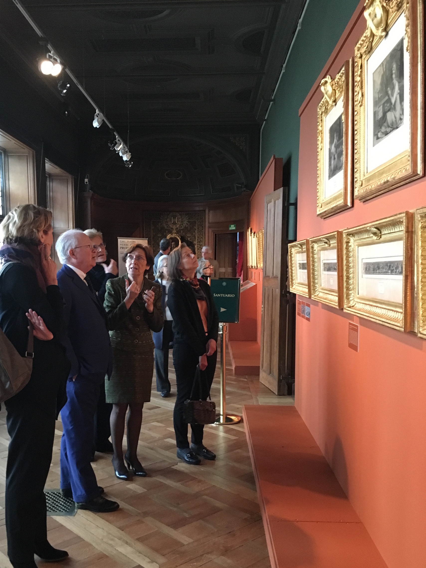 "Martina Priebe, Jean Bonna, Baronne Antoinette Seillière, Nicole Garnier, and Betty Eveillard view the exhibition ""Pierre-Paul Prud'hon (1758-1823)"" in the Psyche Gallery"